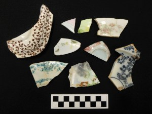 Variety of decorated ceramic sherds from Gunson site.