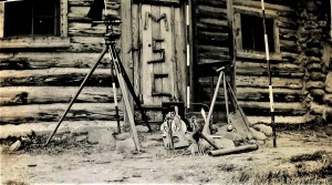 Figure 1 - Surveying equipment used by Blabach and Zerbe during their surveys in the early 1930s; photograph by Balbach and Zerbe