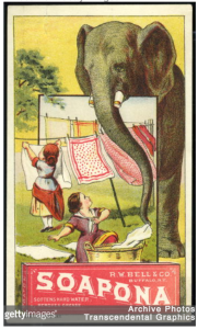 Jumbo brings soap trade card. Image source.