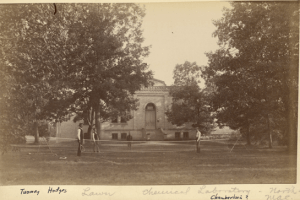 Students playing tennis in front of the Chemical Labratory, 1884. Courtesy of the MSU Archives and Historical Collections.