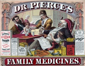 Advertisement for Dr. Pierces Family Medicines. Dr. Sage's Catarrh Remedy can be seen. Image Source.