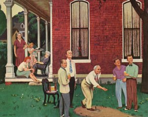 A 1940s beer advertisement showcasing a family playing horseshoes. Image source.