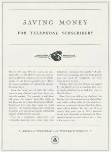 AT&T Telephone ad from1931 convincing customers to keep their phone service. Image source