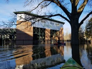 Flooding at the baseball stadium