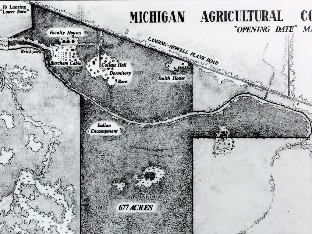 "Michigan Agricultural College (now Michigan State University) campus map on ""Opening Date"" in 1855. Image courtesy of MSU Archives and Historical Collections."