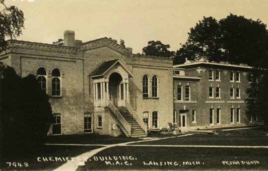View of new South Entrance and two additions to the Physics Building (originally the Chemistry Laboratory), dated to 1928. Image courtesy of MSU Archives and Historical Collections.