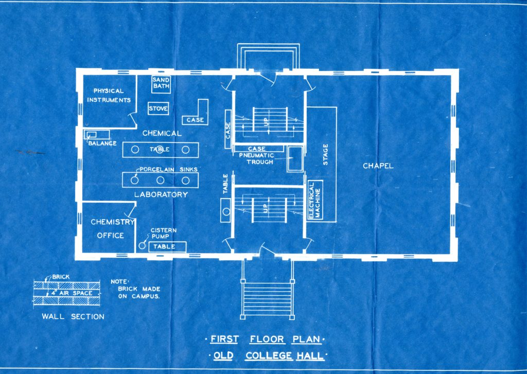 Blueprint of the first Floor of College Hall. Image courtesy of MSU Archives and Historical Collections.