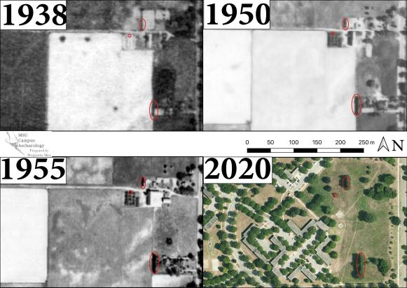A series of three historical aerials and one contemporary satellite image. They depict the vicinity used as an example in this guide, and two clusters of historical features including structures, an orchard, and several historical windbreaks. Arboreal features used as points of reference are circled in red.