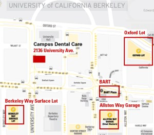 decorative - downtown berkeley map - campus dental office on university and several public parking places are marked. Street parking is available. There are several parking lots conveniently located around our office. Also, Bart is conveniently located near our office (downtown Berkeley station).