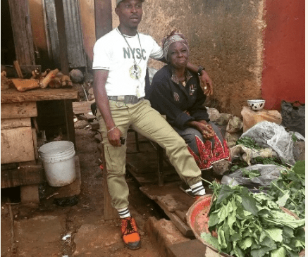 Corper Shows Off His Mother Who Sold Vegetables To Train Him At The University