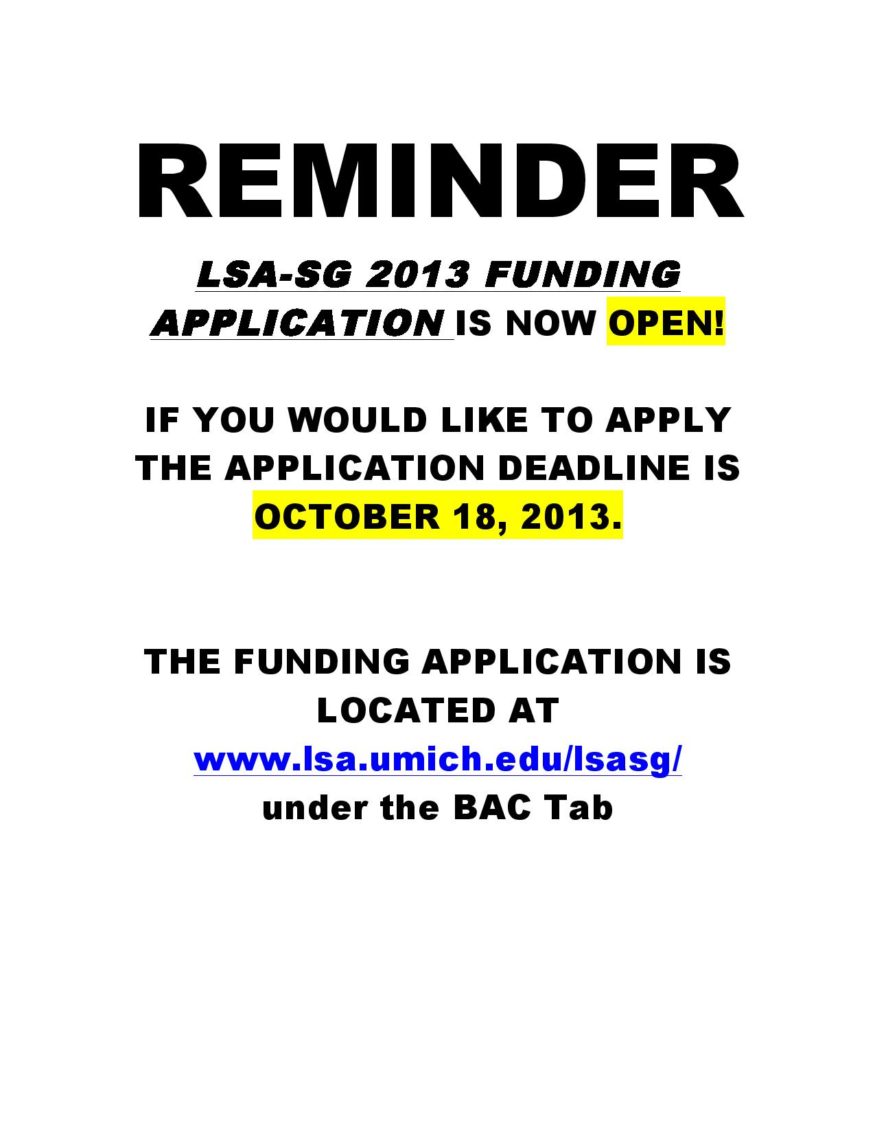 LSA-Student Government Funding Application is now OPEN