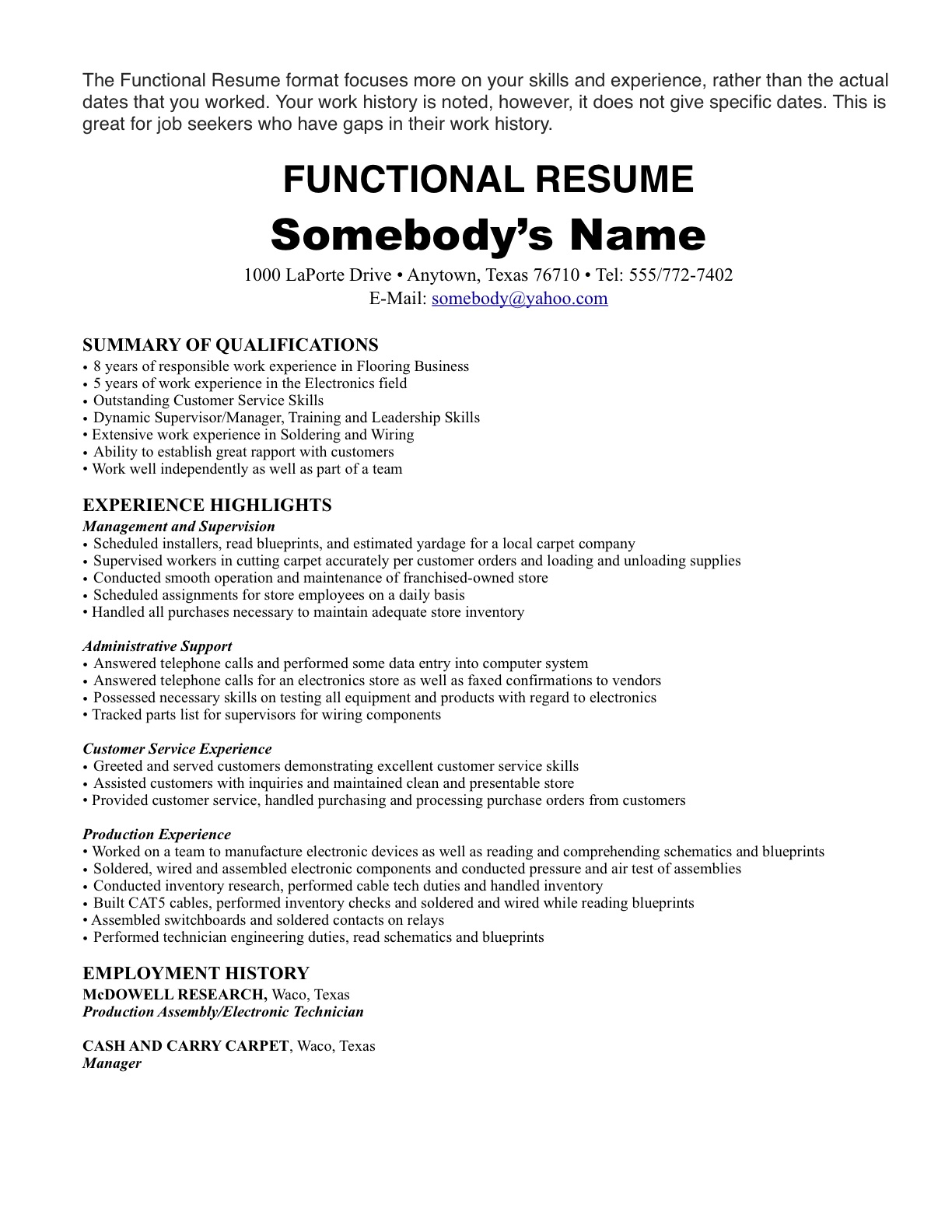 carpet installer job description resume