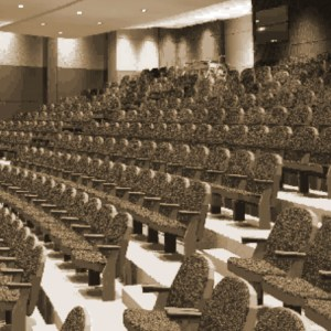 Empty lecture hall.sepia