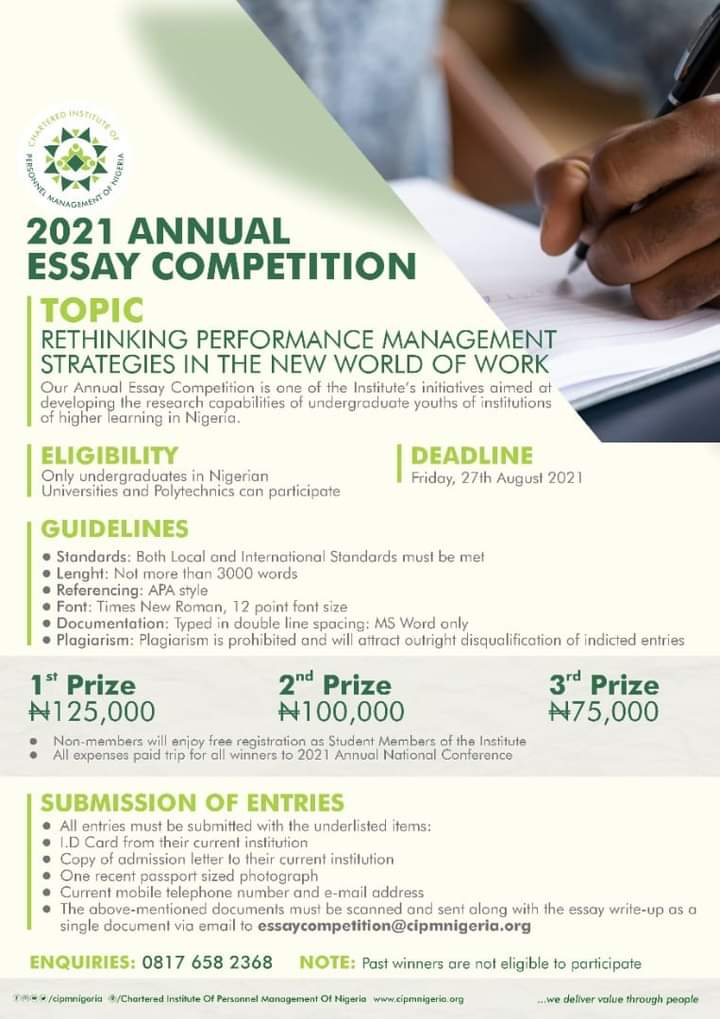 CIPMN Calls For Essay Submission, Winners To Get Over N300k