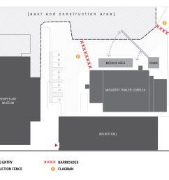 diagram showing pedestrian access on the east end construction site at washu [ 2273 x 1811 Pixel ]