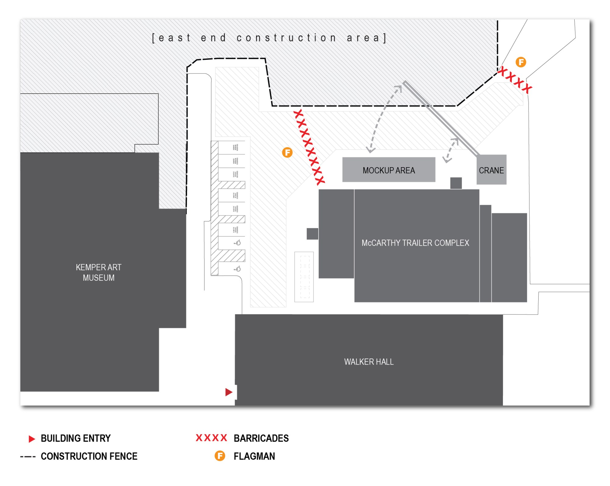 hight resolution of diagram showing pedestrian access on the east end construction site at washu