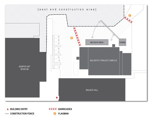 small resolution of diagram showing pedestrian access on the east end construction site at washu