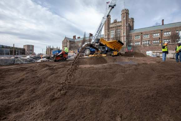 February 2019: Dirt being brought in for Tisch Park. This is the area along the steps that lead to Brookings Hall.