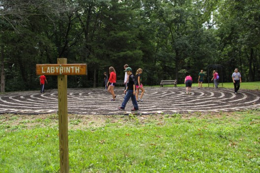 image of the labyrinth at Campy Wyoming with individuals walking
