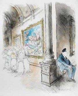 Ronald Searle (1920-2011), Cat lecturing in a gallery. © The estate of Ronald Searle