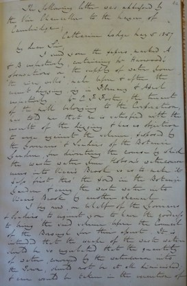 Letter to Mayor 1857