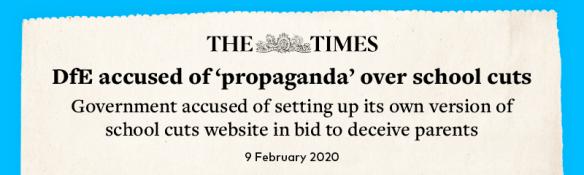 Headline: DfE accused of propaganda over school cuts
