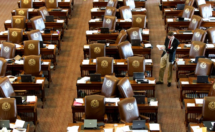 View of Empty Texas House chamber leather seats
