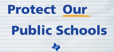 text: Protect Our Schools on: ruled paper with our logo
