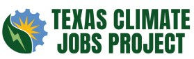 Text: Texas Climate Jobs Project. and Logo: Yellow sunburst on cogged wheel and lightening bolt on a green leaf