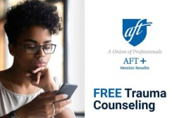 Woman with glasses looking down at phone. Text: Free Trauma Counseling
