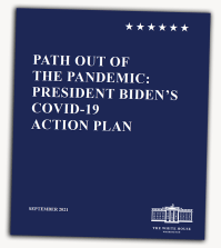 Dark blue plan cover. Text: Path Out of the Pandemic.