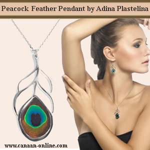 Peacock Feather Silver Pendant by Adina Plastelina