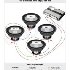Wiring Diagram For Car Amplifier Combination Drain And Vent Subwoofer Diagrams How To Wire Your Subs Substitute Coil Sub In The That S Way You D 1 2 Are Wired Together Parallel So Coils 3 4