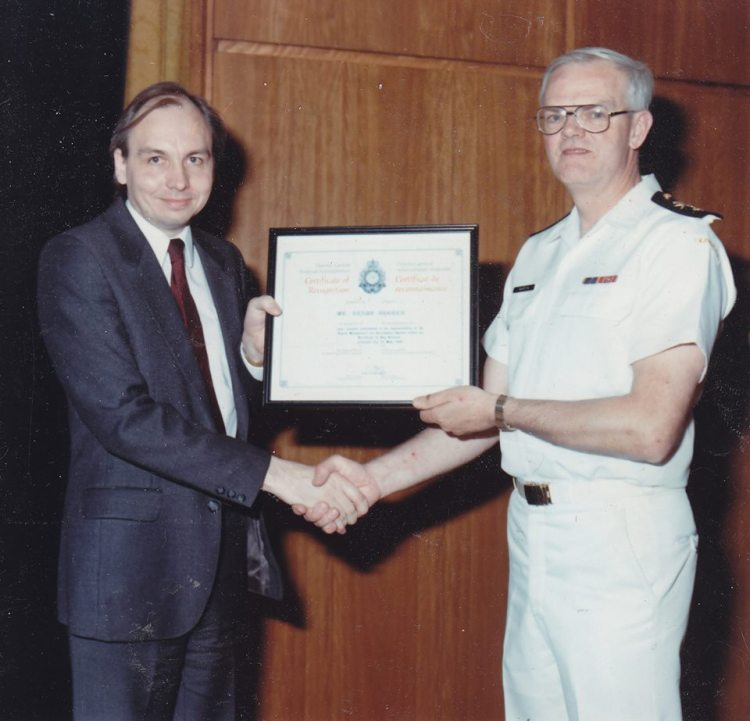 Foto of Klaus J Gerken and Admiral Martin in September 1988