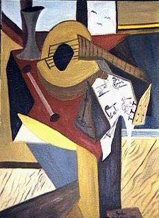 Lute on Table. Oil on canvas. 1970's. Klaus J. Gerken.