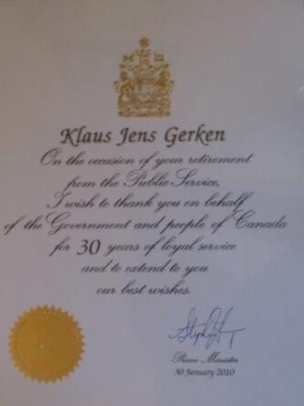 Retirement certificate