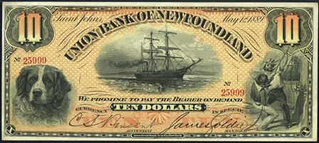 The Union Bank of Newfoundland in Saint Johns Banknote