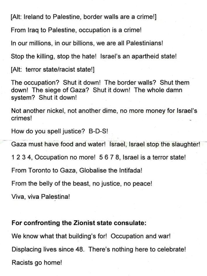 "Toronto protest: ""From Toronto to Gaza, Globalise the Intifada!"""