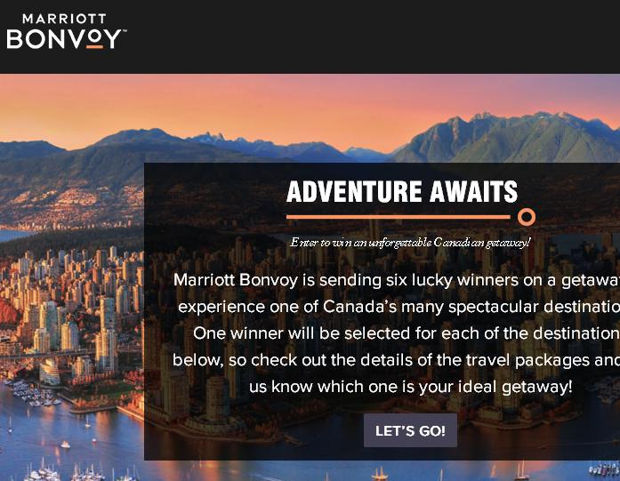 2019 Marriott Bonvoy Canada Summer Sweepstakes - Win A Trip Prize