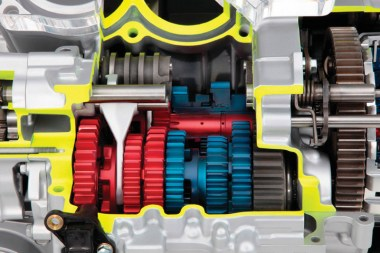DCT cutaway - Colour coding of gears match diagram above.