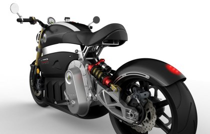 The seat height is electronically adjustable - high for maximum control in town, low for minimal drag on the highway.