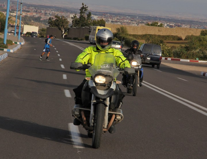The hi viz gets you seen and I'm a convert to it now - especially handy on the roads of Morocco. Photo: Yann