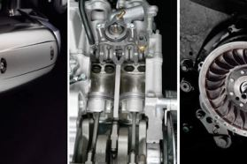 The T-Max's motor has shim-under-bucket valves, just like you'd find on a modern sportbike. The motor puts out about 46 hp - not bad for a scooter.
