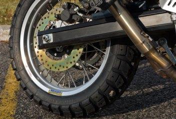 EBC rear disc forwent the wavy bits. Tires are Heidenau K60 Scouts. Photo: Gary Davidson
