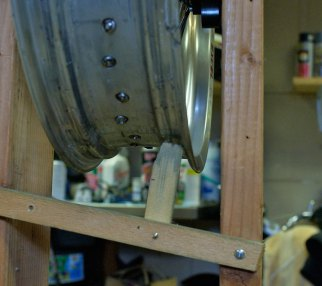Norm's home made wheel jig was primitive but effective.