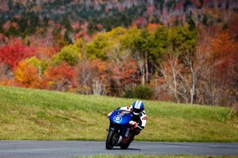Uhlarik is based in Nova Scotia; he's hoping to build the bikes locally. Here, the bike gets a track day in at Shubenacadie. Photo: Photo: Arash Moallemi