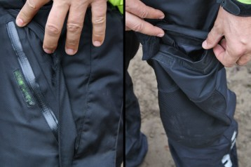 Pocket zippers are waterproof but flap faces forward and holds water there's also a cargo pocket (right). Photo: Zac Kurylyk