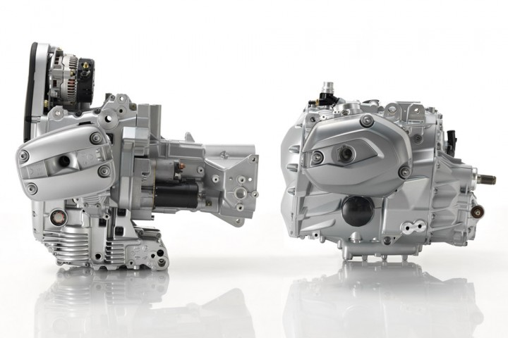 New integrated engine/gearbox (right) shows how much more compact it is.