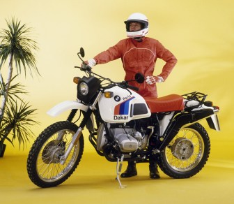 This man is obviously chuffed about his R80GS and ready for adventure through a challenging course of potted plants.