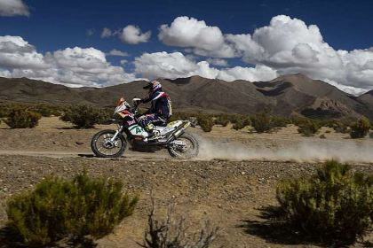 American Kurt Caselli, part of KTM's second-place team at the 2012 Baja 1000, won Day Seven's racing on Friday.